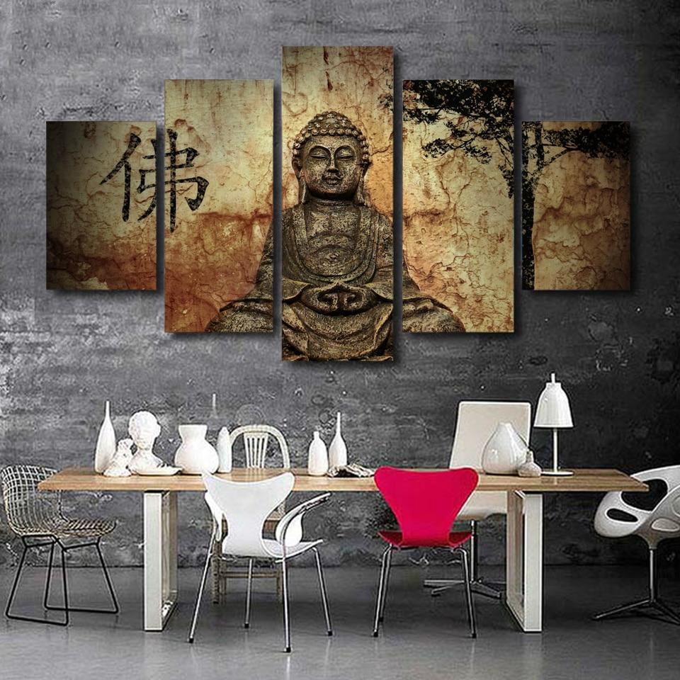 Tableau Toile 5 pièces Buddha en Pierre