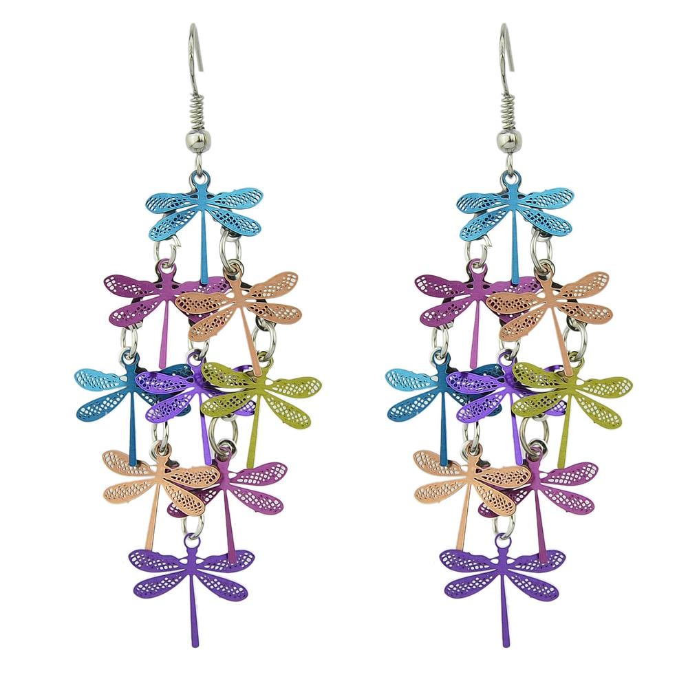 Boucles d\'oreille Libellules multicolores