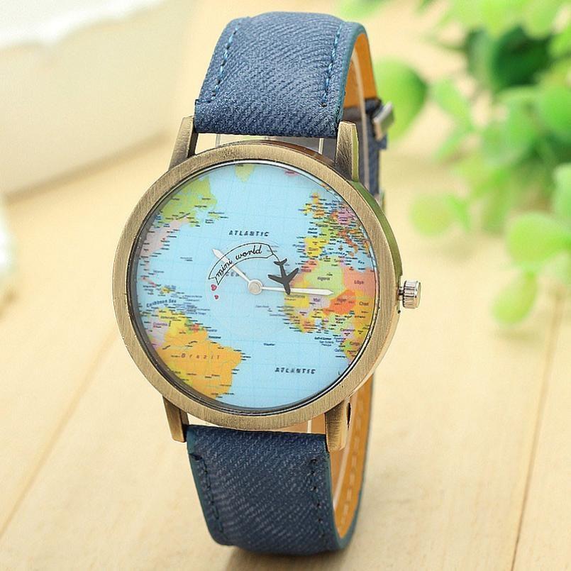 Montre à quartz globe tour du monde