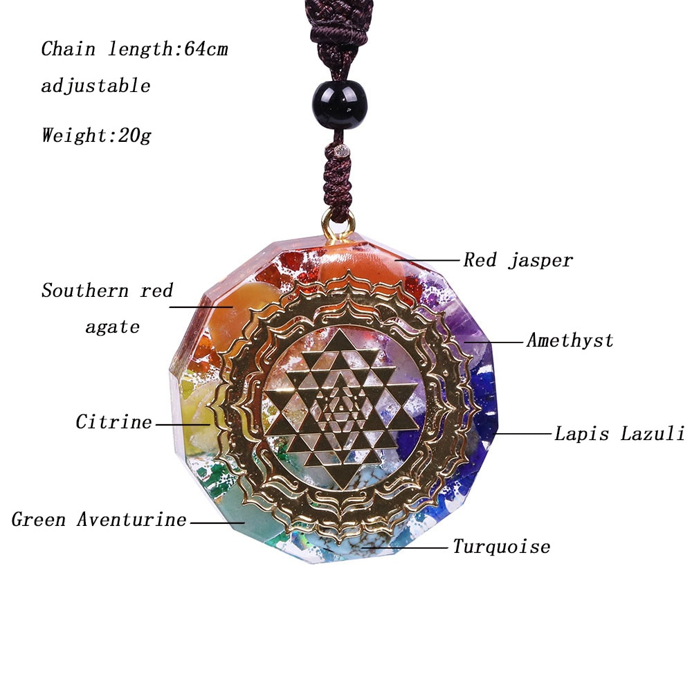 Pendentif Collier Orgonite Sri Yantra GoHappy, Mode et Bien-être