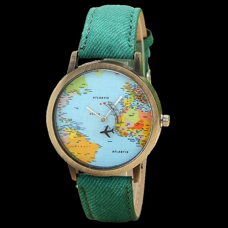 Montre à Quartz Tour du Monde Verte