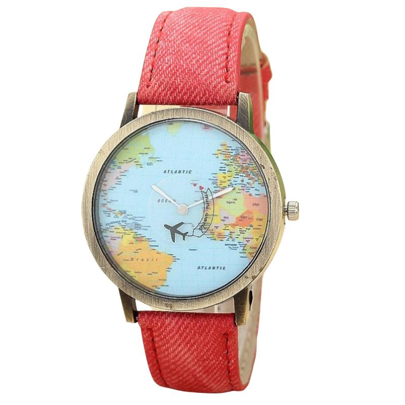 Montre à Quartz Tour du Monde Rouge