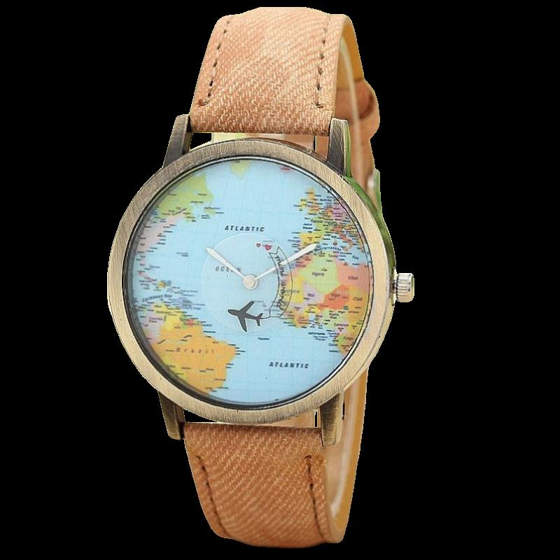 Montre à Quartz Tour du Monde Marron