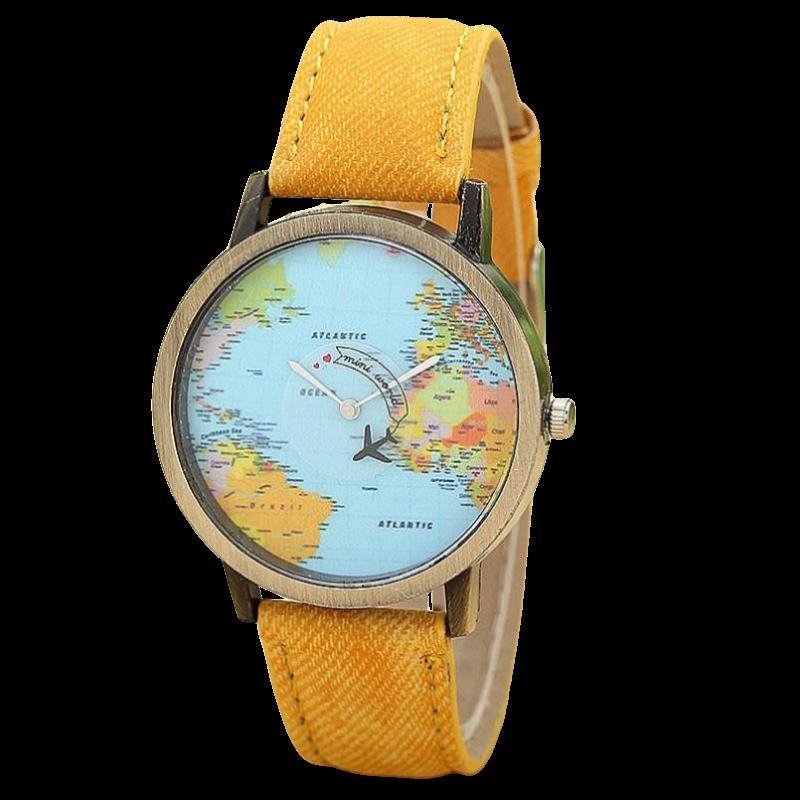 Montre à quartz Tour du Monde Orange