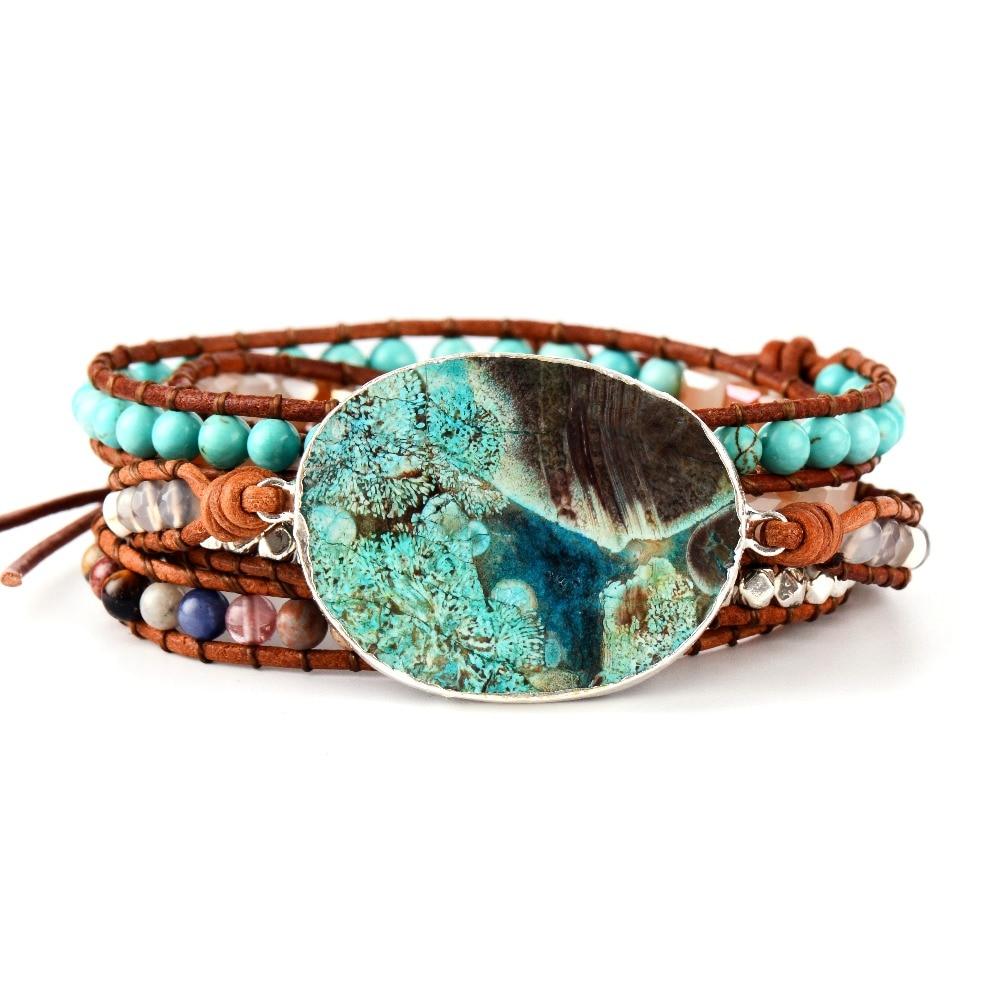 Bracelet 5 brins Unique en Pierres Naturelles Jaspe 5