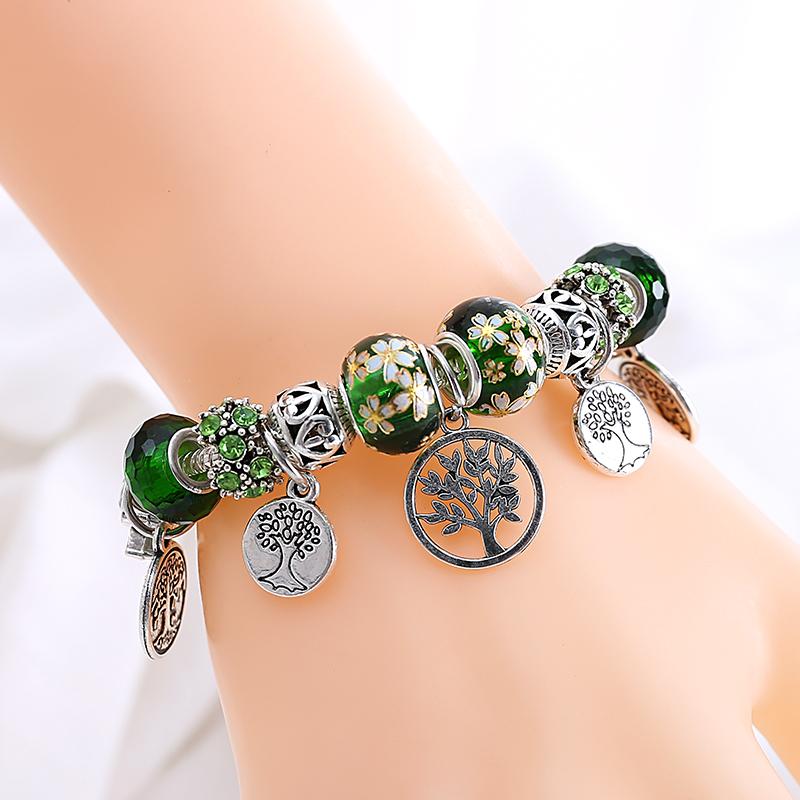 bracelet perles en argent femme arbre de vie