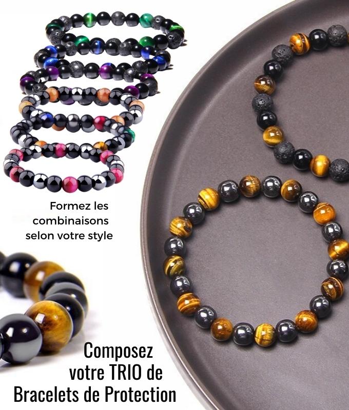 Bracelet personnalisable Homme en Pierres de Protection semi-précieuses