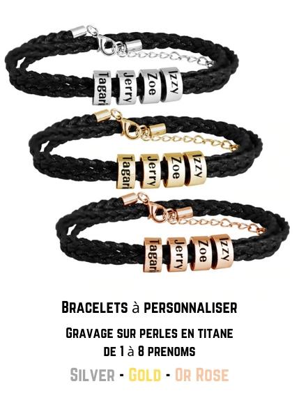 bracelet personnalisable avec prénoms famille homme femme