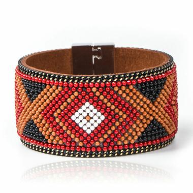 Bracelet cuir Mosaique Ethnique marron3