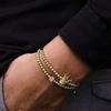 Bracelet cadeau Homme perles en pierres TEMPERAMENT couronne or