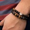 Bracelet Homme perles en pierres TEMPERAMENT croix