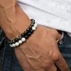 Bracelet cadeau Homme perles en pierres TEMPERAMENT croix