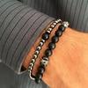 Bracelet cadeau Homme perles en pierres TEMPERAMENT noir argent