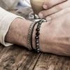 Bracelet cadeau Homme perles en pierres TEMPERAMENT  métal rock