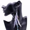 Boucles d'oreilles fantaisie PLUMES colorées gris