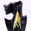 Boucles d'oreilles fantaisie PLUMES colorées jaune