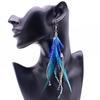 Boucles d'oreilles fantaisie PLUMES colorées bleu