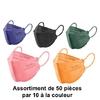 Masques de protection réutilisables pour enfants, couleurs mixtes