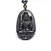 Collier Pendentif Buddha Sculpté en Obsidienne