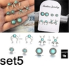 oucles D'oreille Argent Turquoise Bohemia