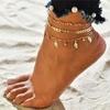 Bracelet de Cheville Feuilles dorées