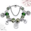 Bracelet femme argent vert Arbre de Vie Coeur gohappy1