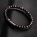 Cadeau Bracelet Homme MAGNETISME perles pierres oeil de tigre 2