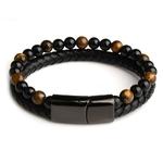 Cadeau Bracelet Homme MAGNETISME perles pierres oeil de tigre 7