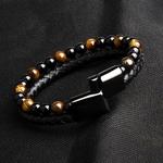 Cadeau Bracelet Homme MAGNETISME perles pierres oeil de tigre 6