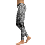 Legging Sport Gym Yoga BlacknWhite Mandala 2