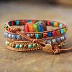 Bracelet cuir Chakra COEUR DE PIERRE