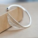 Bracelet Manchette Feuille argentée
