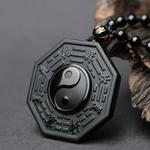 Collier Pendentif Ba Gua en Obsidienne