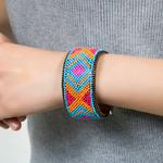 Bracelet cuir Mosaique Ethnique Turquoise1