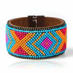 Bracelet cuir Mosaique Ethnique Turquoise3