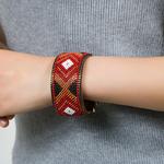 Bracelet cuir Mosaique Ethnique marron1