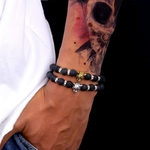 bracelet perles, léopard, Félin, Chat, fauve, hématite, lave, aventure, cadeau homme, Cadeau femme, pierres naturelles, perles noires, léo, bijou en pierres