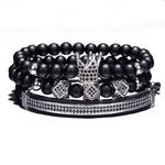3-pi-ces-ensemble-Hip-Hop-lastique-corde-CZ-couronne-Bracelet-ray-noir-pierre-naturelle-perles