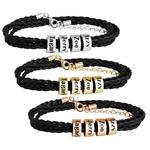 Bracelet Homme en Cuir Tressé Noir avec Perles Personnalisées Argent, Or ou Or rose
