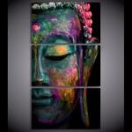 Tableau Toile 3 pièces Bouddha Multicolore