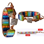 Bracelet Chakras Cuir et Pierres-