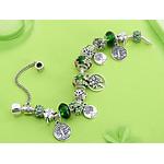 Bracelet femme argent vert Arbre de Vie Coeur gohappy3