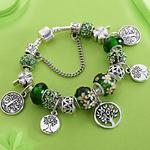 Bracelet femme argent vert Arbre de Vie Coeur gohappy4