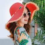 Chapeaux-de-soleil-pliables-gros-bord-Chapeau-de-paille-fait-la-main-avec-pompon-color-s
