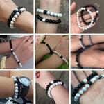 bracelets duo homme et femme en howlite et onyx, noir et blanc