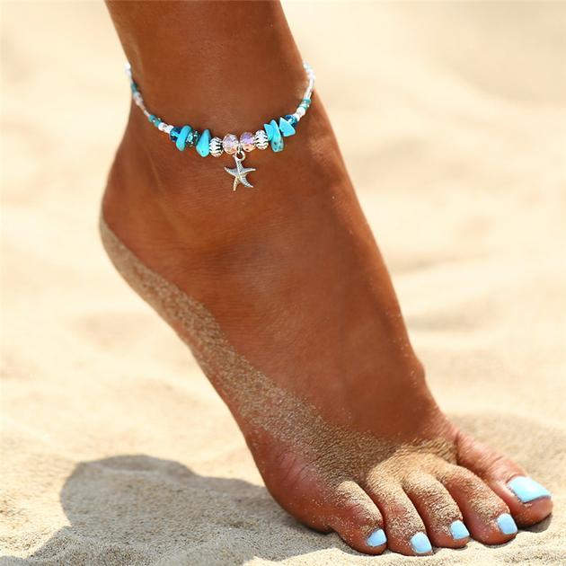 bracelet pied cheville bijou coquillage argent