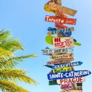 voyage, gourdes, bagages, plage, soleil