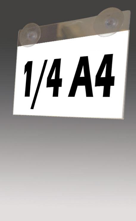 SUPPORT D'AFFICHAGE PLEXIGLAS 1/4 A4 VENTOUSÉ