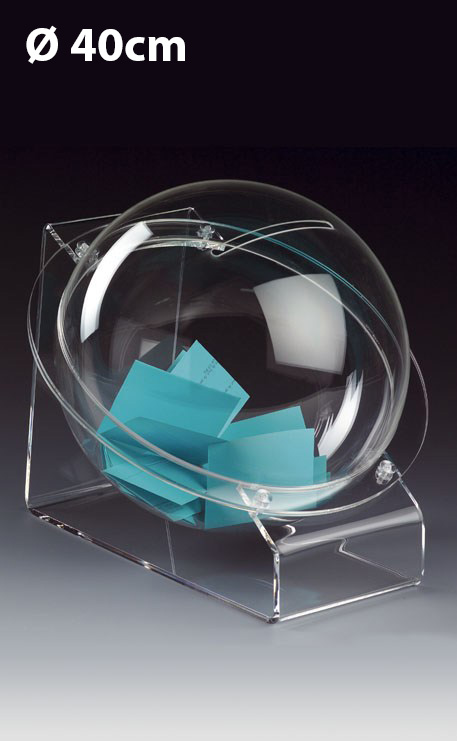 URNE BOULE 40CM PLEXIGLAS SUR TABLE