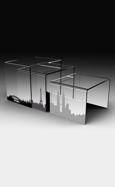 Table basse plexiglass gigogne transparente city - Table basse en plexi ...